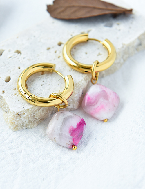Fashion Pink Copper Square Natural Stone Ear Ring