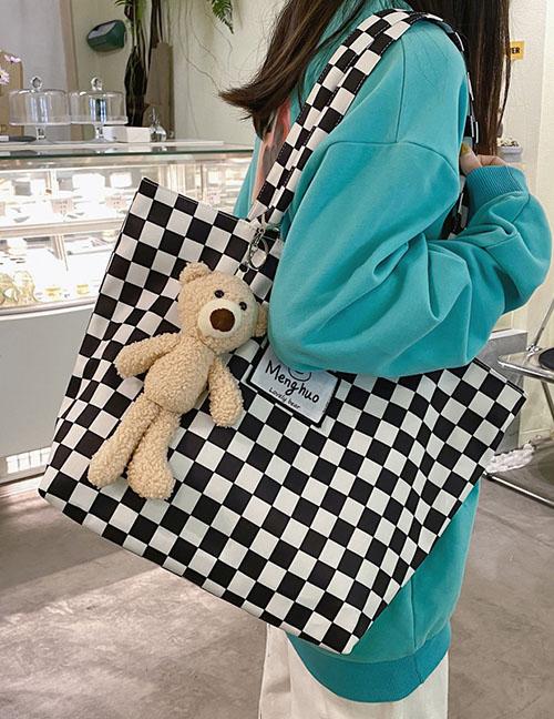 Fashion Green Grid + Pendant Large-capacity Leopard Check Patch Handbag