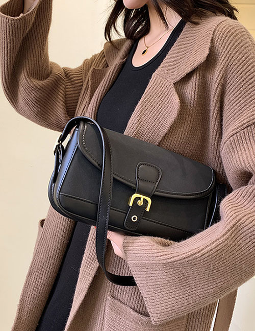 Fashion Coffee Color Frosted Lock Crossbody Bag