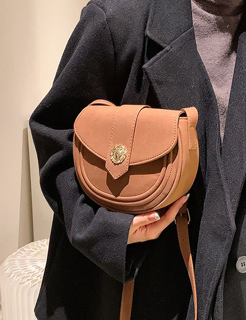 Fashion Brown Frosted Semicircular Saddle Bag