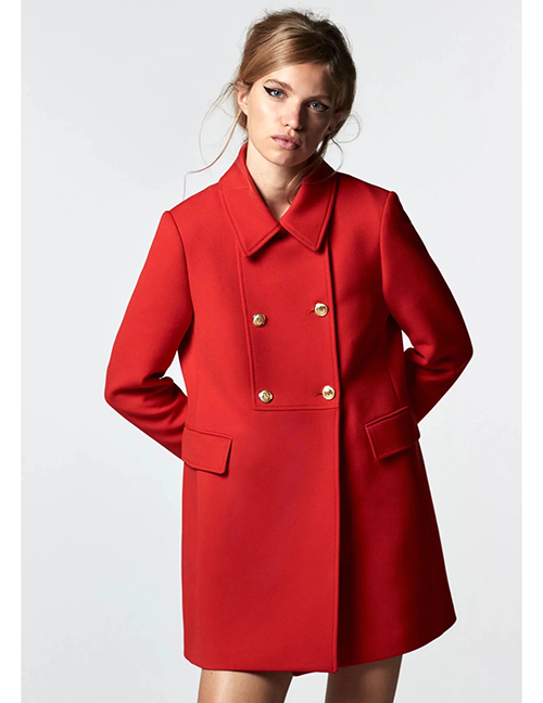 Fashion Red Lapel Double-breasted Pocket Coat