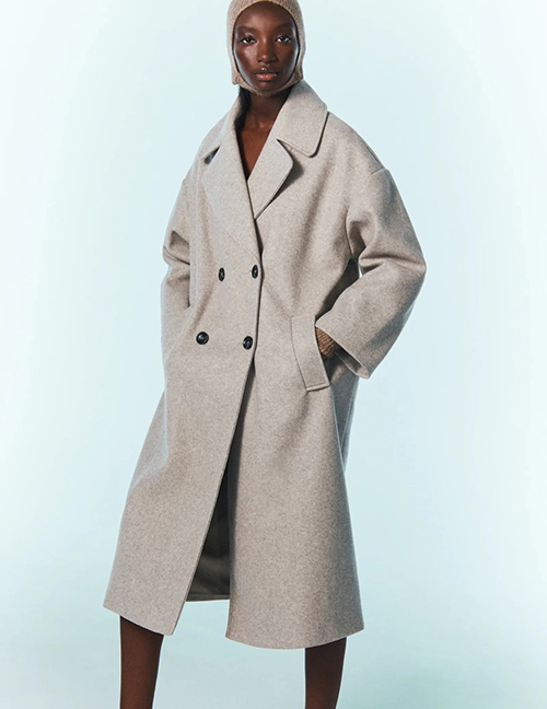 Fashion Apricot Lapel Double-breasted Pocket Coat