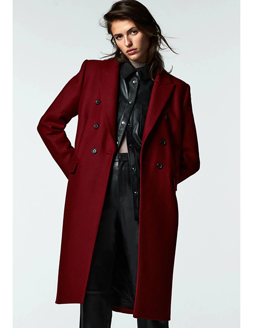 Fashion Red Wine Suit Collar Buttoned Double Pocket Coat