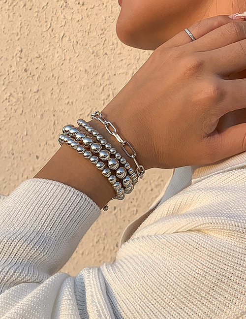 Fashion Silver Color Metal Round Bead Beaded Chain Bracelet Set