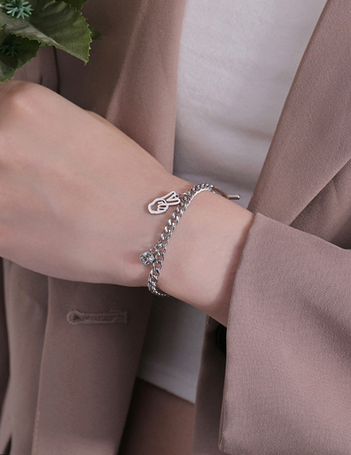 Fashion Steel Color Stainless Steel Smiley Round Bead Bracelet