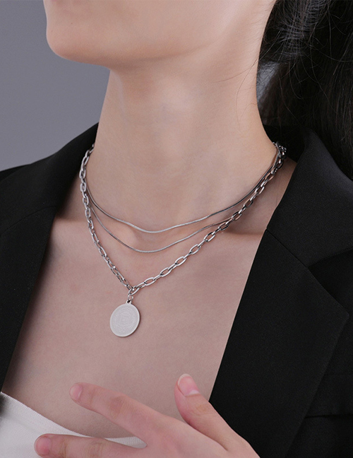 Fashion Silver Color Stainless Steel Round Brand Multi-layer Necklace