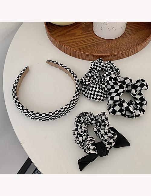 Fashion Hair Band Checkerboard Wide-brimmed Headband