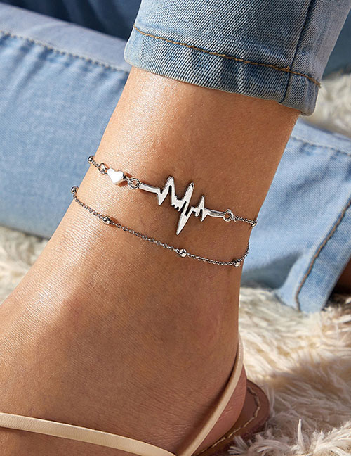 Fashion Silver Color Metal Ecg Double Anklet