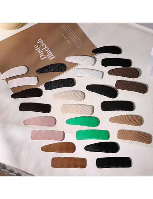 Fashion Light Coffee Color Drop Leather Bb Clip Pu Leather Check Hair Clip