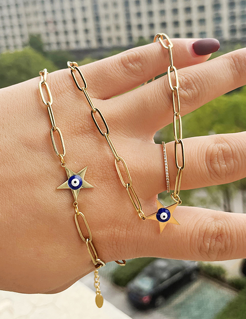 Fashion Gold Titanium Steel Oil Drop Five-pointed Star Eye Necklace