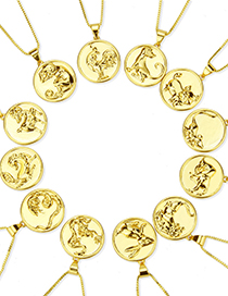 Fashion Gilded Rat Round Glossy Gold-plated Zodiac Pendant Necklace