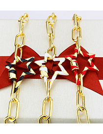 Fashion Gold-plated Black Turnbuckle Oil Drip Irregular Five-pointed Star Pendant Necklace
