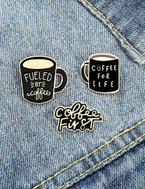 Fashion Letter Coffee Cup Alloy Paint Letter Brooch