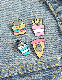 Fashion French Fries Alloy Black Cat Pizza Fries Burger Drink Dripping Alloy Brooch