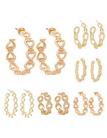 Fashion Golden 5 Twist C-shaped Geometric Hollow Alloy Earrings