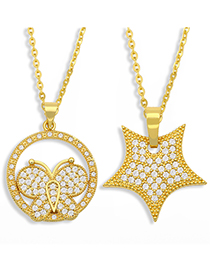 Fashion Butterfly Geometric Diamond Butterfly Pentagram Necklace