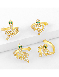 Fashion Golden A Snake-shaped Diamond Earrings Without Pierced Ears