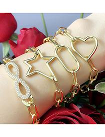 Fashion Love Thick Chain Love Geometric Copper Gilded Bracelet