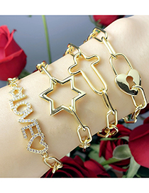 Fashion Letter Diamond Letter Pentagram Cross Bracelet