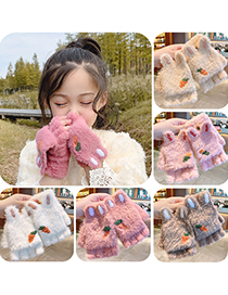 Fashion Emerald Green Light Pink Orange [5-12 Years Old] Plush Thickened Clamshell Fruit Embroidery Children Gloves