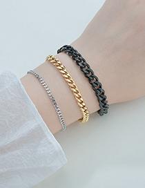 Fashion Black 7mm22cm Polished Six-sided Titanium Steel Cuban Chain Thick Chain Bracelet