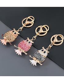 Fashion Pink Alloy Diamond Owl Keychain Pendant
