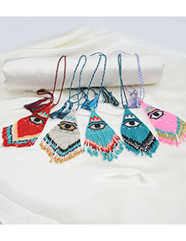 Fashion Red Rice Beads Hand-woven Eye Tassel Beaded Necklace