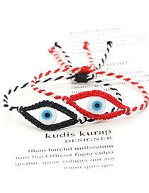 Fashion Red And White Hand-woven Glass Eye Beads Bracelet