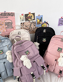 Fashion White Send Bear Pendant Large-capacity Badge Embroidery Stitching Backpack