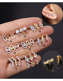 Fashion 8# Rose Gold Color Stainless Steel Flat-bottom Threaded Micro-inlaid Zircon Geometric Piercing Earrings