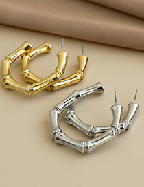 Fashion Silver Color Alloy Bead Section C Line Earrings