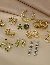 Fashion Gold Color Alloy Geometric Chain Earrings