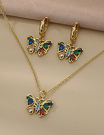 Fashion Gold Color Copper Inlaid Zircon Butterfly Necklace