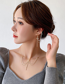 Fashion Collar Crystal Diamond Cross Chain Tassel Earring Necklace