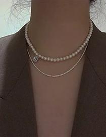 Fashion Gypsophila Freshwater Pearl And Diamond Geometric Alloy Necklace