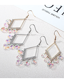 Fashion Gold Color Crystal And Diamond Alloy Geometric Stud Earrings