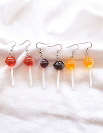 Fashion Brown Simulation Food Play Three-dimensional Round Lollipop Earrings