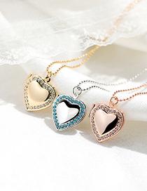 Fashion Silver Color White Diamond Love Heart Pendant Photo Box Necklace