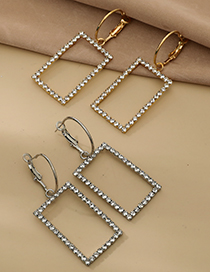 Fashion Gold Color Alloy Diamond Hollow Square Earrings