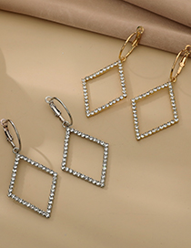 Fashion Gold Color Alloy Diamond Hollow Diamond Earrings