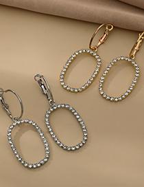 Fashion Silver Color Alloy Diamond Hollow Oval Earrings