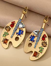 Fashion Gold Color Alloy Diamond Painting Plate Earrings