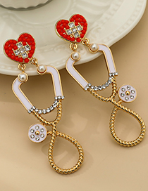 Fashion Gold Color Alloy Diamond Earrings For Medical Devices