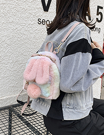 Fashion Big Pink Bunny Ears Plush Contrast Color Backpack