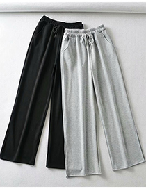 Fashion Black Solid Color Threaded Wide Loose Leg Pants
