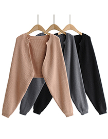 Fashion Black Solid Color Knitted Shawl Loose Sweater Sweater