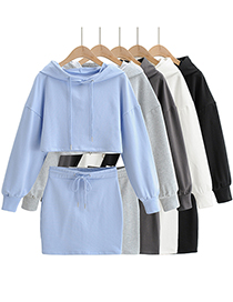 Fashion Blue Hooded Sports Sweater + Lace-up Skirt Suit