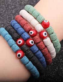 Fashion Dark Blue Volcanic Stone Red Geometric Volcanic Stone Beaded Eye Elastic Bracelet