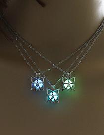 Fashion White K+blue Green Luminous Bead Butterfly Hollow Luminous Pendant Necklace