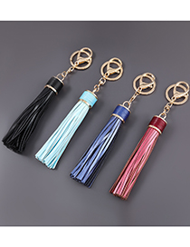 Fashion Blue Alloy Lobster Clasp Artificial Leather Tassel Keychain Pendant
